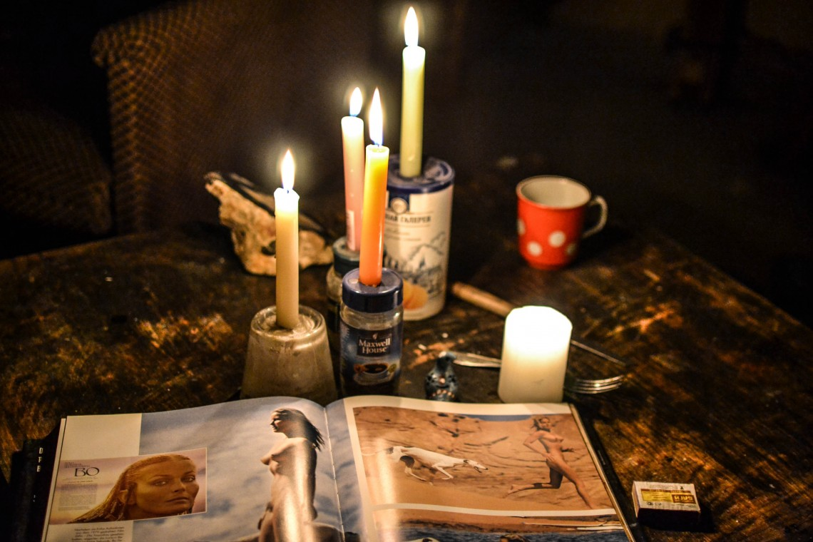Candles and book